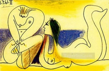 Sur la plage 1961 Cubist Oil Paintings