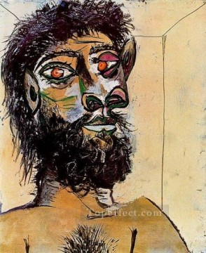Tete d homme barbu 1956 Cubist Oil Paintings