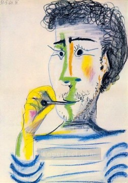 Tete d homme barbu a la cigarette III 1964 Cubist Oil Paintings