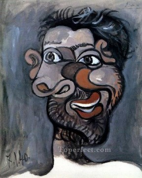 Tete d un homme barbu 1940 Cubists Oil Paintings