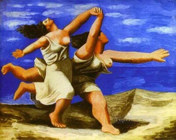 women Painting - Women Running on the Beach 1922 Cubists