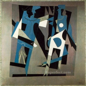 Arlequin et femme au collier 1917 Cubists Oil Paintings