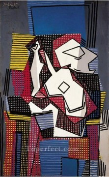 Bouteille guitare et compotier 1922 Cubists Oil Paintings