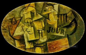 Guitare verre et journal 1912 Cubists Oil Paintings