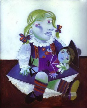 Portrait of Maya with her Doll 1938 Cubists Oil Paintings