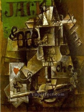 Verre de Pernod et cartes 1912 Cubists Oil Paintings