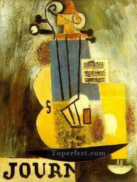 Violon partition et journal 1912 Cubists Oil Paintings