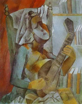 Woman Playing the Mandoline 1909 Cubists Oil Paintings