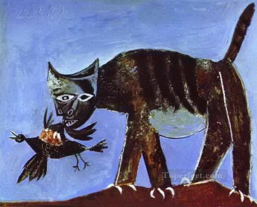 cat cats Painting - Wounded Bird and Cat 1939 Cubists