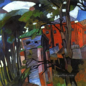 landscape with a red house 1917 Aristarkh Vasilevich Lentulov cubism abstract Oil Paintings