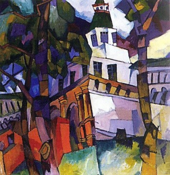 cubism works - the gate with a tower new jerusalem Aristarkh Vasilevich Lentulov cubism abstract