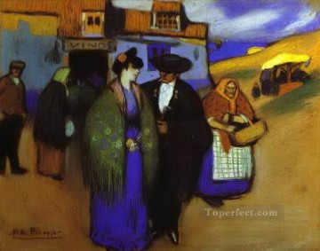 couple Art - A Spanish Couple in front of an Inn 1900 Cubists