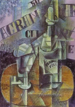 Bottle of Pernod Table in a Cafe 1912 Cubists Oil Paintings