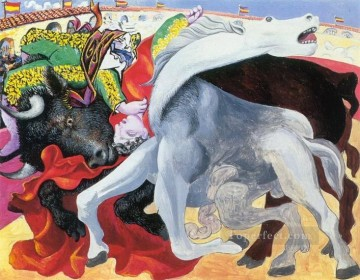 Corrida la mort du torero 1933 Cubists Oil Paintings