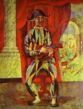 1917 Canvas - Harlequin with a Guitar 1917 Cubists