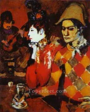 In Lapin Agile or Harlequin with a Glass 1905 Cubists Oil Paintings