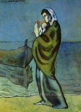 Mere et enfant sur le rivage 1902 Cubists Oil Paintings