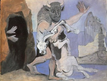 Famous Abstract Painting - Minotaure et jument morte devant une grotte face a une fille au voile 1936 Cubists