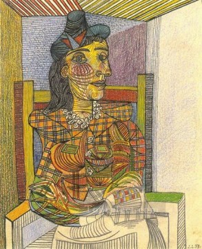 Portrait de Dora Maar assise 1 1938 Cubists Oil Paintings