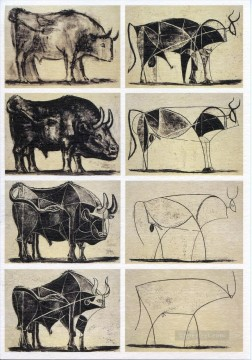 cattle bull cow Painting - Bull Cubists