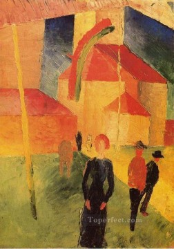 Famous Abstract Painting - Church with Flags Expressionism