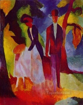 Abstract and Decorative Painting - Family At The Blue Lake Expressionism