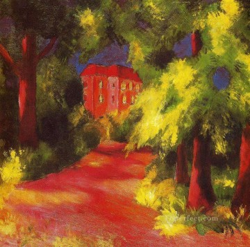 Abstract and Decorative Painting - Red House in a Park Expressionist