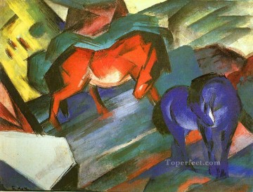 Abstract and Decorative Painting - Red and Blue Horses Expressionist