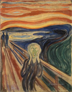 Artworks in 150 Subjects Painting - The Scream by Edvard Munch 1910 tempera Expressionism