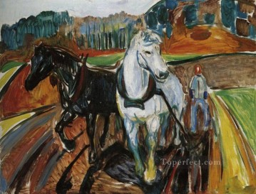horse racing Painting - horse team 1919 Edvard Munch Expressionism