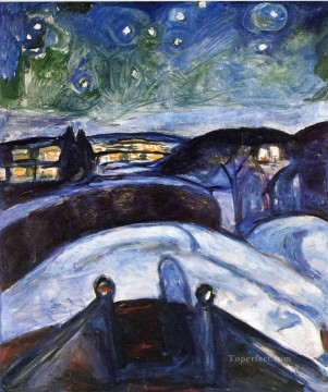 Expressionism Painting - starry night 1924 Edvard Munch Expressionism