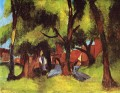 Children under Trees in Sun Expressionist