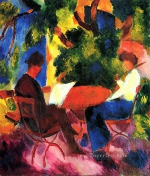 Famous Abstract Painting - Couple At The Garden Table Expressionist