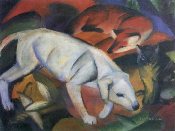 Famous Abstract Painting - Drei Tiere Expressionist