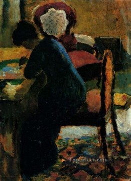 Famous Abstract Painting - Elisabeth At The Desk Expressionist