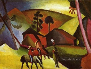 Abstract and Decorative Painting - Indians On Horse back Expressionist