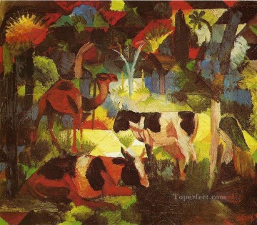 Abstract and Decorative Painting - Landscape With Cows And Camel Expressionist