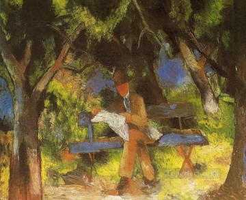 Abstract and Decorative Painting - Man Reading in a Park Lesender Mannim Park Expressionist