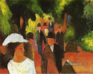 Abstract and Decorative Painting - Promenade with Half Length of Girl in White Expressionist