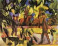 Riders and Strollers in the Avenue Expressionist