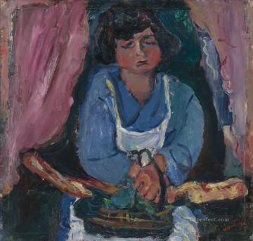 Expressionism Painting - THE SERVANT IN BLUE Chaim Soutine Expressionism