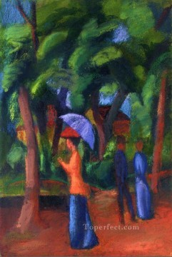 Expressionist Painting - Walking in the Park Expressionist