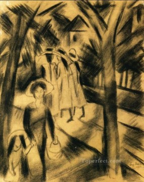 Famous Abstract Painting - Woman with Child and Girls on a Road Expressionist