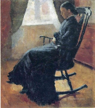 Chair Painting - aunt karen in the rocking chair 1883 Edvard Munch Expressionism
