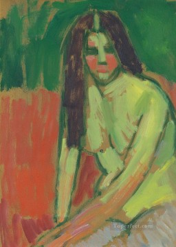 Expressionism Painting - half nude figure with long hair sitting bent 1910 Alexej von Jawlensky Expressionism