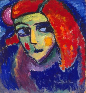 Expressionism Painting - pale woman with red hair 1912 Alexej von Jawlensky Expressionism
