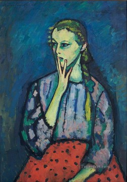 Artworks in 150 Subjects Painting - portrait of a girl 1909 Alexej von Jawlensky Expressionism