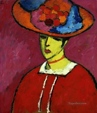 Artworks in 150 Subjects Painting - schokko with wide brimmed hat 1910 Alexej von Jawlensky Expressionism