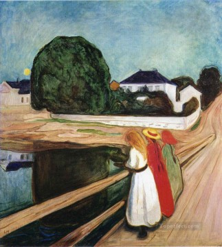 Artworks in 150 Subjects Painting - the girls on the bridge 1901 Edvard Munch Expressionism