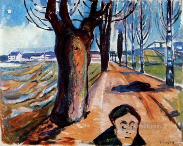 Expressionism Painting - the murderer in the lane 1919 Edvard Munch Expressionism